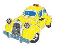 желтый цвет таксомотора стоковое фото rf
