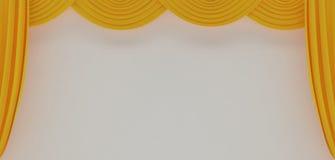 желтый цвет театра занавесов Стоковое Изображение RF