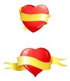 желтый цвет тесемки лоснистых сердец красный Иллюстрация штока