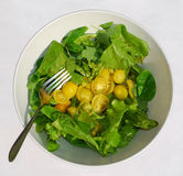 желтый цвет томата салата вилки Стоковое Изображение RF