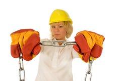 желтый цвет трудного шлема девушки Стоковая Фотография RF