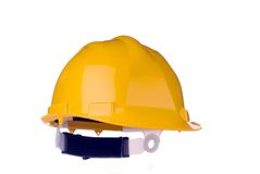 желтый цвет трудного шлема изолированный Стоковые Фотографии RF