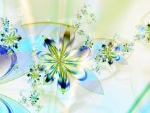 желтый цвет фрактали цветка предпосылки голубой Стоковые Изображения RF