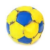 желтый цвет футбола футбола шарика голубой Стоковые Изображения