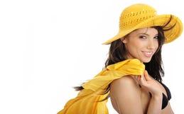 желтый цвет шлема девушки бикини сексуальный Стоковое фото RF