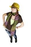 желтый цвет шлема девушки Стоковое Изображение RF