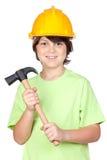 желтый цвет шлема молотка красивейшего ребенка стоковые изображения