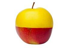 желтый цвет яблока наполовину красный Стоковые Изображения RF