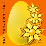 Желтый цвет яйца с цветками на оранжевой предпосылке иллюстрация вектора