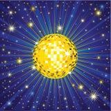 желтый цвет диско шарика светя Стоковые Фотографии RF