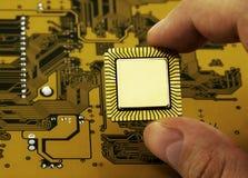 желтый цвет C.P.U. цепи доски стоковые изображения rf