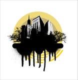 желтый цвет grunge города круга иллюстрация штока
