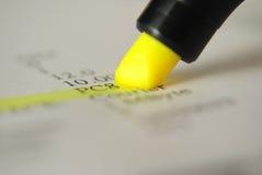 желтый цвет highlighter Стоковое Фото