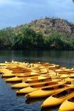 желтый цвет kayak s Стоковое Изображение RF