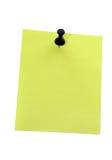 желтый цвет pushpin бумаги примечания Стоковые Фото