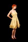желтый цвет redhead платья Стоковое Изображение