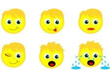 желтый цвет smileys Стоковое Изображение RF