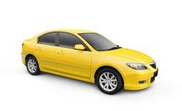 желтый цвет w путя клиппирования автомобиля Стоковые Фото