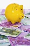 Желтый piggy банк на кредитках евро Стоковое Фото