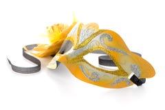 2 желтых венецианских маски Стоковое Изображение