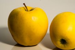 2 желтых сочных яблока Стоковая Фотография RF