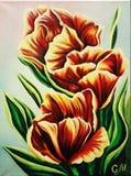 Желт-красные тюльпаны Масло на холстине красивейшее изображение иллюстрация вектора