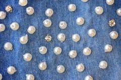 Жемчужная предпосылка джинсовой ткани Стоковое Изображение