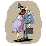 Жена обнимая супруга Стоковое Изображение