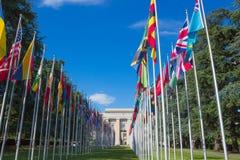 Женева, Швейцария - 17-ое июня 2016: Галерея национальных флагов Стоковые Фотографии RF