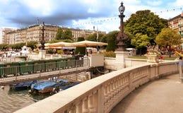 Женева, Швейцария - 12-ое июля 2014 Взгляды портового района Ge озера Стоковое Фото