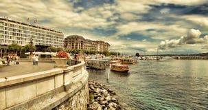 Женева, Швейцария - 12-ое июля 2014 Взгляды портового района Ge озера Стоковое фото RF