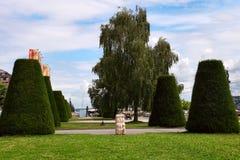 Женева, Швейцария - 12-ое июля 2014 Парк на портовом районе l Стоковые Изображения