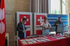 ЖЕНЕВА, ШВЕЙЦАРИЯ - 15-ое сентября - библиотека Организации Объединенных Наций Стоковое Изображение