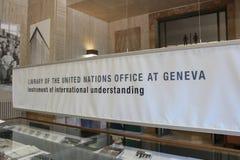 ЖЕНЕВА, ШВЕЙЦАРИЯ - 15-ое сентября - библиотека Организации Объединенных Наций Стоковая Фотография RF