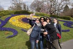Женева, Швейцария, часы цветка Стоковые Изображения
