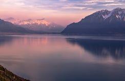 Женевское озеро на заходе солнца стоковое фото rf