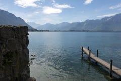 Женевское озеро, около Монтрё стоковые изображения rf
