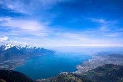Женевское озеро от Rocher-de-Naye Стоковое Изображение