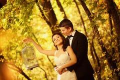 Жених и невеста в лесе Стоковая Фотография RF