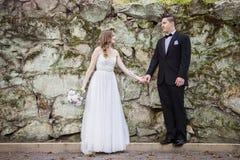 Жених и невеста держа руки перед стеной утеса Стоковое Фото