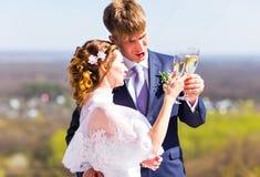Жених и невеста держа стекла шампанского свадьбы стоковые фотографии rf