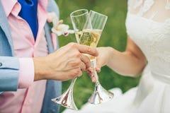 Жених и невеста держа wedding стекла Стоковые Фотографии RF