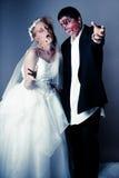 Жених и невеста зомби дня свадьбы Стоковая Фотография RF