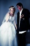 Жених и невеста зомби дня свадьбы Стоковое Фото