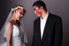 Жених и невеста зомби Стоковая Фотография