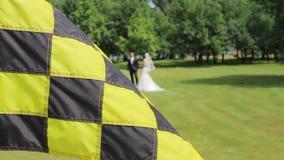 Жених и невеста играет гольф акции видеоматериалы