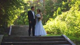Жених и невеста идет вдоль переулка парка сток-видео