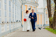 Жених и невеста и летящие птицы Стоковая Фотография