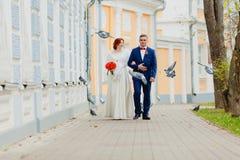 Жених и невеста и летящие птицы Стоковое Изображение RF