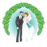 Жених и невеста, карточка свадьбы или приглашение Стоковые Изображения
